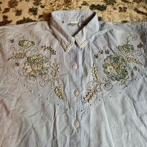 VTG Beaded Chambray Button Down